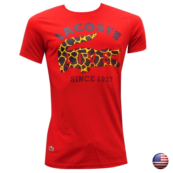 392e068dadc New Lacoste Men s Red Crew Neck T-shirt short